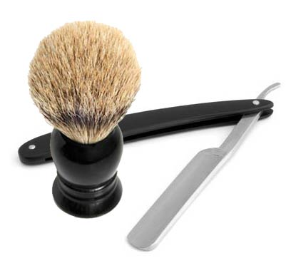 shaving brush with cut throat razor