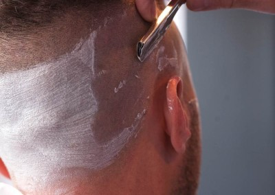 razor shave to side of head