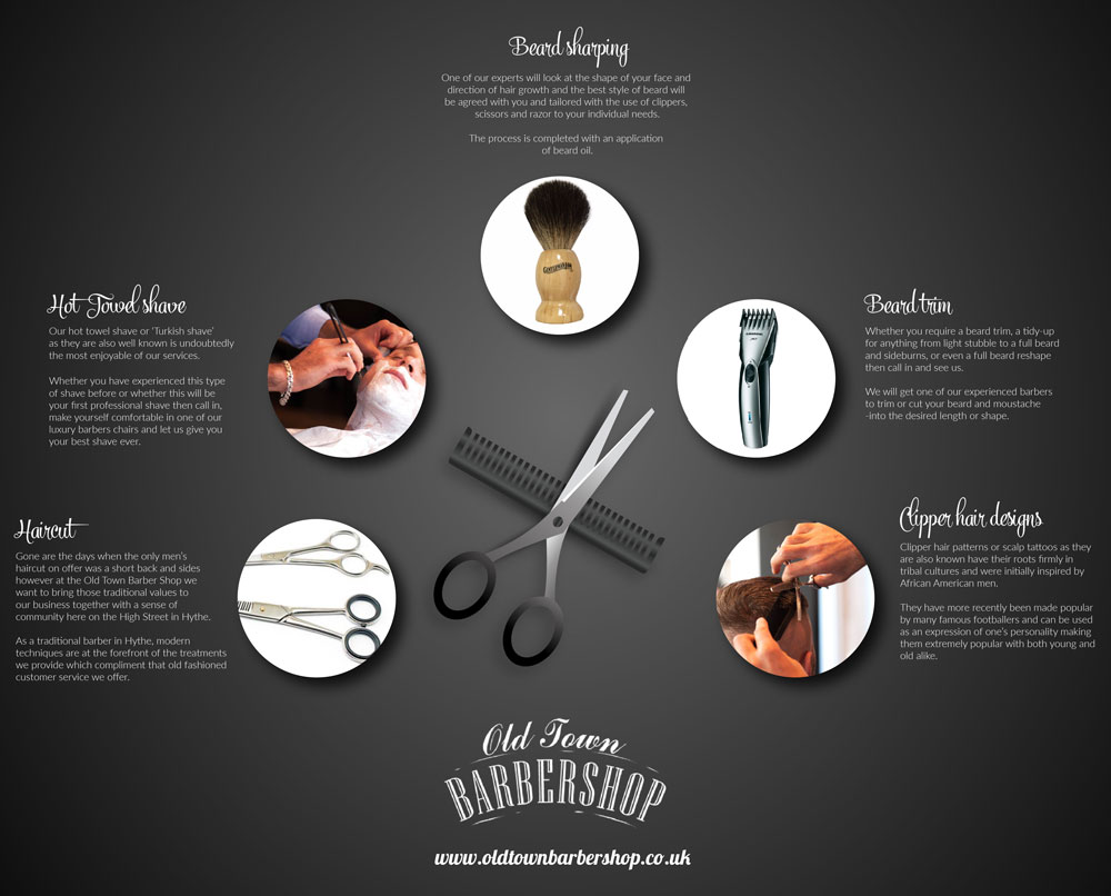 old town barber shop infographic